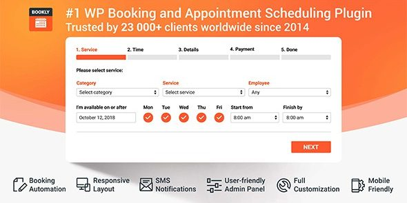 Bookly PRO - Core Plugin - Appointment Booking and Scheduling Software System