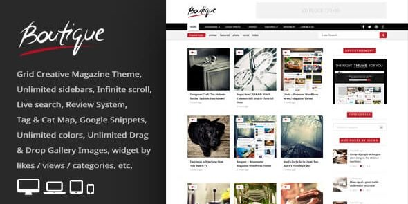 Boutique Grid - Creative Magazine WordPress Theme