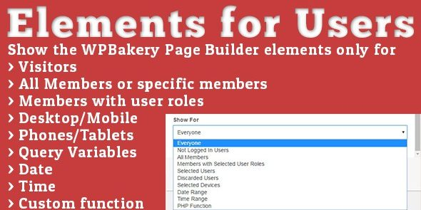 Elements for Users - Addon for WPBakery Page Builder formerly Visual Composer