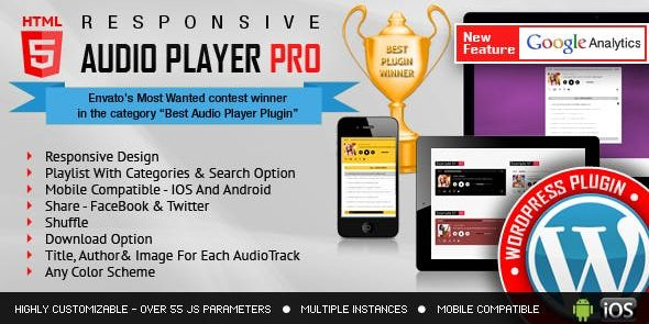 Responsive HTML5 Audio Player PRO - Wordpress Plugin