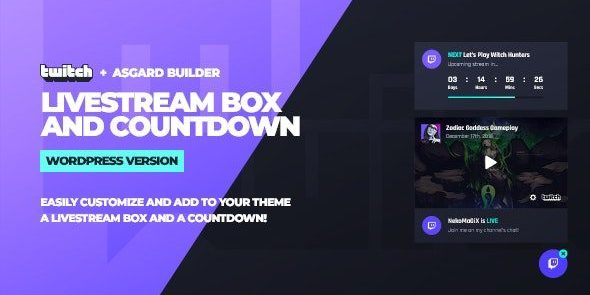 Twitch LiveStream Box and Countdown - Wordpress Plugin