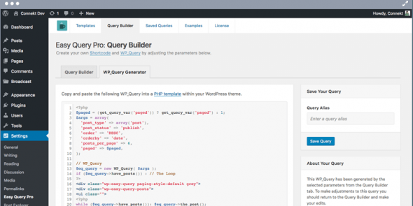 Easy Query Pro - A visual query builder plugin for WordPress