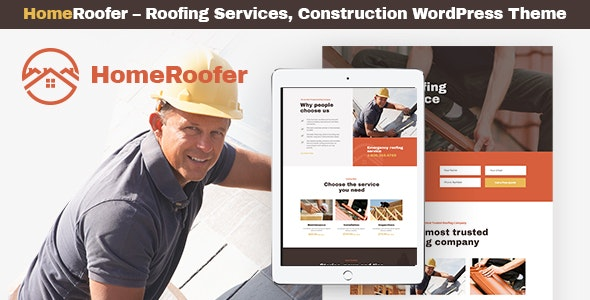 HomeRoofer - Roofing Company Services & Construction WordPress Theme
