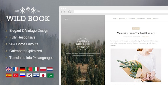 Wild Book - Vintage & Elegant Blog Theme