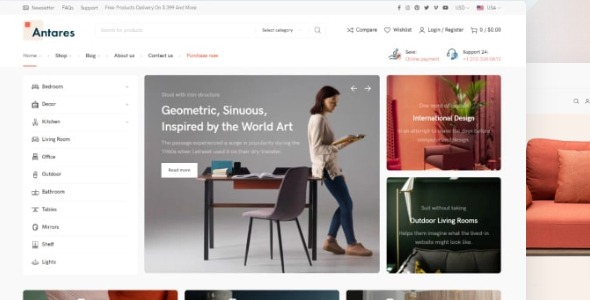 Antares - modern theme for furniture and décor store